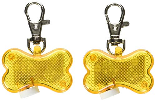 Higo LED Dog Tags, 2 Pack Bone-Shape Clip-On Flashing Dog Safety Lights for Collars, Glowing Light Up Pet ID Tag for Safety Nighttime Dog Walking (Yellow)