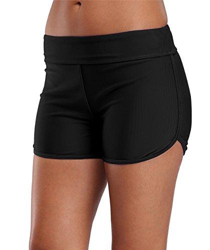 Lever Damen Schwimmhose Badeshorts Strandshorts Bauch Weg Sport Bikini Shorts 50 LSF Schwarz 44 2XL