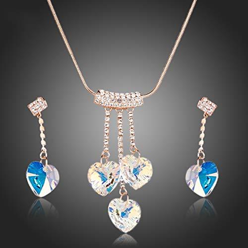 Örhängen ringar knappar öron naglar roséguld färg hjärta kristall hänge halsband och droppe örhängen smycken set