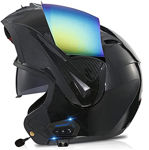 Bluetooth Casco Moto Modular Casco de Moto Integral ECE Homologado para Mujer Hombre Adultos con Anti Niebla Doble Visera Casco Integrado con 500mA Auriculares Bluetooth (Color : 6, Size : XS)
