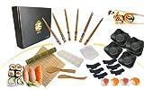 Sushi Kit Completo_Set de sushi japonés para 6 personas (18 piezas), Estera de sushi de bambú, juego de 6 palillos, 6 cuencos salsa soja, moldes para nigiros, uramaki, hosomaki y temaki DIY