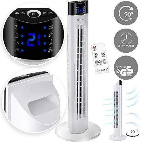 Kesser® Turmventilator mit Fernbedienung | 3 Stufen | 3 Modi | 107cm | 60 Watt | 7,5 Timer | LED-Leuchten | Tower-Ventilator | Standventilator | Säulenventilator | Luftkühler 90° oszillierend Weiß