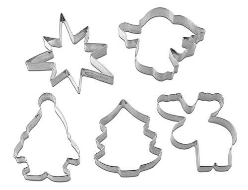 Dr. Oetker 5-częściowy zestaw foremek do wycinania ciastek na Boże Narodzenie, foremki do ciasteczek, ciasteczek i fondantu, różne motywy, ilość: 1 x 5 sztuk
