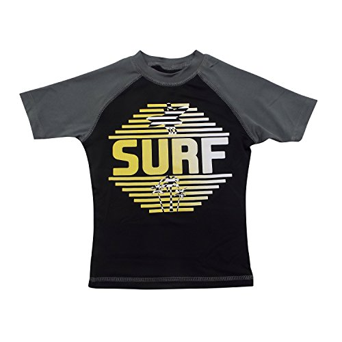 Machine Boys' Short-Sleeve Rashguard - Surf Gray and Black Swim Shirt - Size 8-10