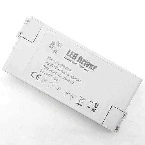 REYLAX® 1pcs 24V 60W 2500mA Driver LED, Transformador de Conmutación de CA a CC, Fuente de Alimentación de Voltaje Constante, Transformador de Bajo Voltaje para Aplicaciones LED
