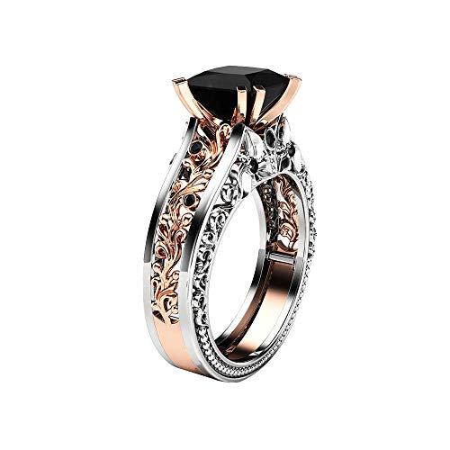 minjiSF Anillo de piedra preciosa vintage para mujeres y hombres, con flores talladas, bohemio, de plata, anillos de compromiso, anillos de compromiso, anillo de diamante, anillo de compromiso (C, 8)