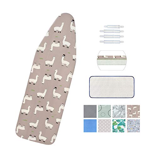 """Ironing Board Cover and Pad Standard Size 15"""" x 54"""",Elastic Edges and 4 Adjustable Fasteners Make 3 Layer Padded Ironing Board Cover Surface Smoother,1 Large Protective Scorch Mesh Cloth(Grey)"""
