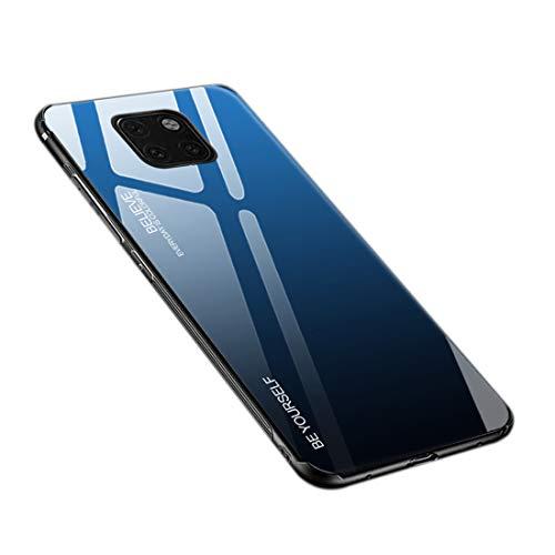 Hülle für Huawei Mate 20 Pro, Gehärtetes Glas Zurück mit Weichem TPU Silikon Rahmen Handyhülle Farbverlauf Farbe Hülle Schutzhülle für Huawei Mate 20 Pro (Blau-Schwarz)