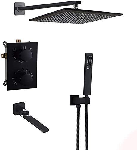 Sistema de ducha Montado en pared de latón negro 8-12 pulgadas de latón con ducha de ducha de ducha de ducha de ducha de ducha Termostática Válvula de mezcla termostática Válvula de interruptor de la
