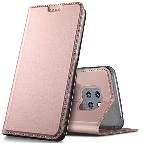 Verco Handyhülle für Mate 20 Pro, Premium Handy Flip Cover für Huawei Mate 20 Pro Hülle [integr. Magnet] Book Case PU Leder Tasche, Rosegold