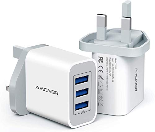 Amoner USB Charger 2-Pack, 15W 3-Port Fast Charger Plug Compact Mains Charger Compatible with iPhone 12/Xs/Xs Max/Xr/X/8/7, iPad Pro/Air/Mini, Galaxy S8/Note 3 etc