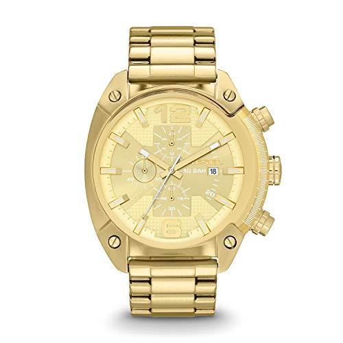 Relógio masculino Diesel de quartzo com cronógrafo de aço inoxidável, Dourado, 1 pc