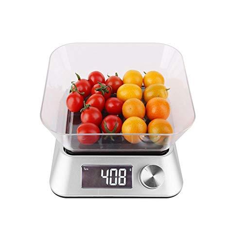 CHICTI Números Cocina Balanzas electrónicas, 5kg Precisión Escala de Hornear, Acero Inoxidable, con diseño de Cuenco Pequeño