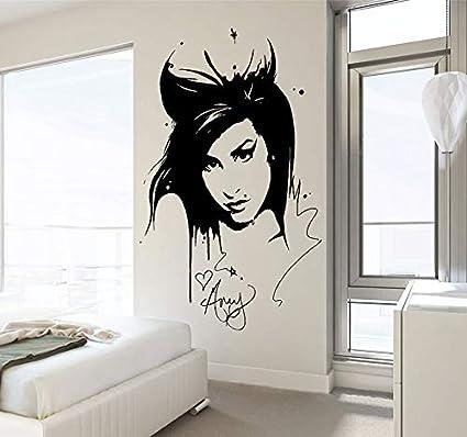 fancjj Amy Winehouse Etiqueta de la Pared calcomanía Belleza peluquería Vinilo Interior decoración para el hogar Mural extraíble Sala de Estar decoración Pegatina 42x62 cm