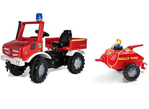 Rolly Toys Fire Unimog Feuerwehr Edition 2020 mit Anhänger (Tretauto 3 – 8 Jahre, Spritze, Blinklicht, Schaltung, Bremse) 038275