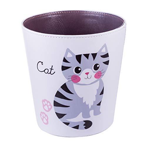 Searchyou - PU Papelera, 10 litros Animales de Dibujos Animados Impermeable Cubos de Basura para Dormitorio de niños - (Gato)