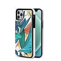 iPhone12mini /12/12Pro/12Promax ケース 熱帯の葉 アイフォン PUレザーケース カード収納 360°全面保護 擦り傷防止 財布型 マグネット付き スマホケース 互換性のある スタンド機能