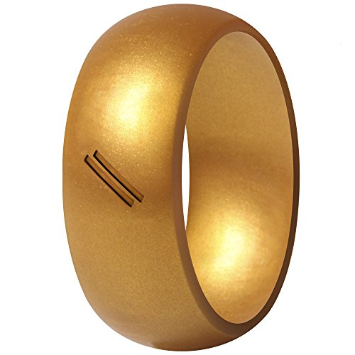 ThunderFit Silicone Wedding Ring for Men, Rubber Wedding Band (Polished Gold, 12.5-13 (22.2mm))