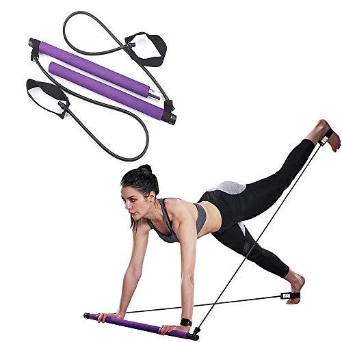 QIQI Pilates Stick Bar mit Widerstandsbändern, Heim-Fitnessgeräte für Männer und Frauen - Tragbares Workout-Kit für die Körperstraffung,Lila
