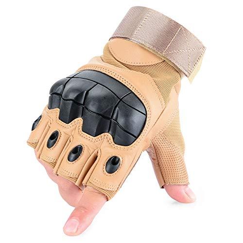 Touchscreen Leder Motorradhandschuhe Motocross Moto Motorrad Biker Racing Hard Knuckle Vollfinger Handschuh Herren-Fingerless Brown-2-S