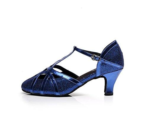 Minitoo qj6133Damen Geschlossen Zehen High Heel PU Leder Glitzer Salsa Tango Ballsaal Latin t-strap Dance Schuhe, Blau Blue-6cm Heel,38 EU/5.5 UK - 2