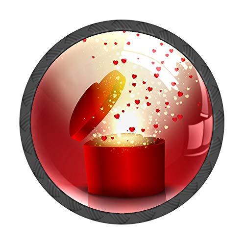 FCZ 4 pomos para cajón con forma de corazón en forma de corazón, para el día de San Valentín, con forma de círculo, para el hogar, la cocina, la oficina