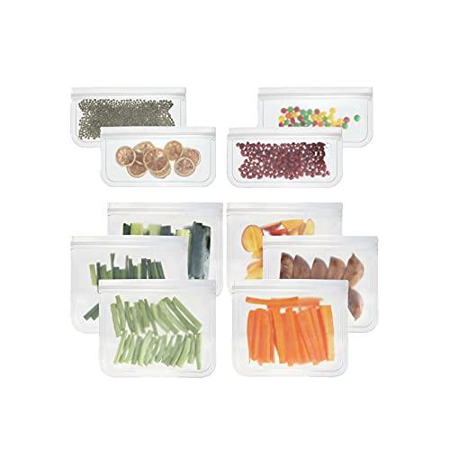 SH-RuiDu 10 bolsas translúcidas de almacenamiento de alimentos PEVA herméticas bolsas deslizantes para frutas y verduras
