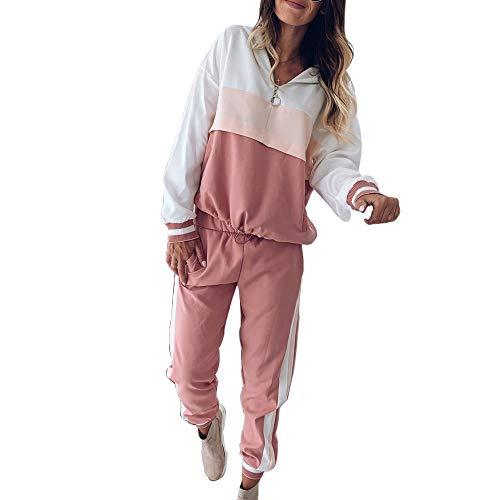 Vertvie - Traje de deporte para mujer, 2 piezas, con capucha, manga larga, con cremallera y pantalón largo, 2 unidades A-pink M
