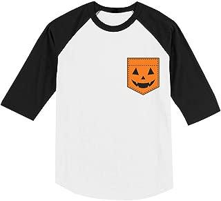 Jack O' Lantern Halloween Pumpkin Pocket Toddler Raglan 3/4 Sleeve Baseball Tee