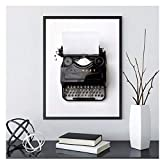 wzgsffs Vintage Typewriter Canvas Poster Black White Photography Retro Wall Art Picture Decorative Painting Office Decor Him or Her Gift-40X50cm Frameless
