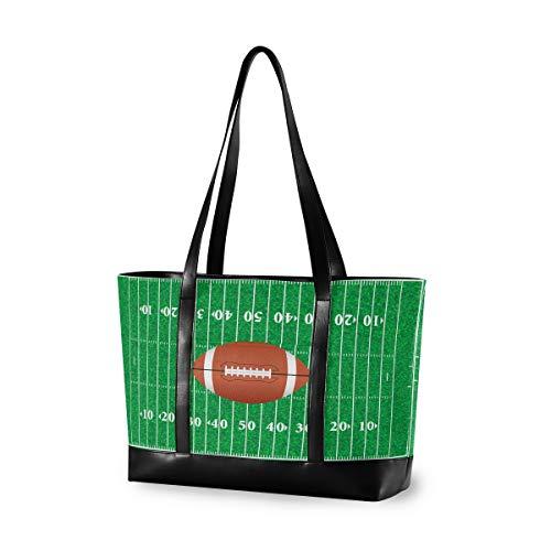 CPYang Laptop-Tasche 39,6 cm (15,6 Zoll) American Football Canvas Schultertasche Große Handtasche Damen Computer Tote Tasche für Arbeit Business Schule Reisen