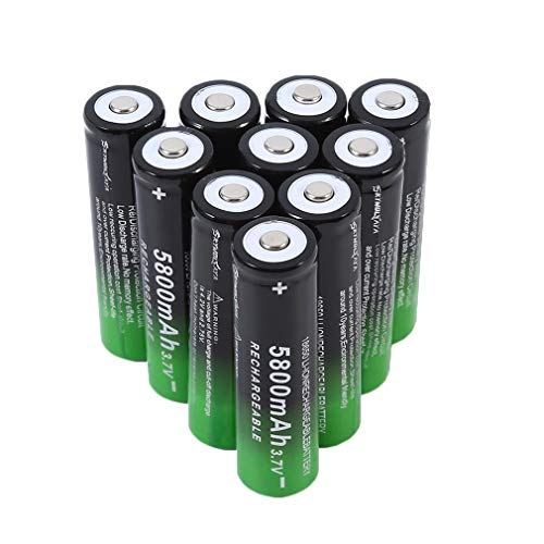 10Pcs 18650 Lithium Battery 3.7V 5800mAh Practical Rechargeable 18650 Li-ion Battery Large Capacity Battery Long Battery Life,for LED Torch Flashlights,Headlamps,Electronic Devices