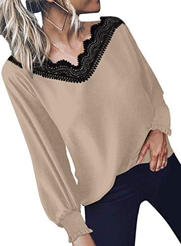 Elegancity Damen Bluse Khaki V Ausschnitt mit Spitzen Schick Tunika Mit Laternenärmel Langarmshirt Elegant Hemd Dame Oberteile Blusen Tops L