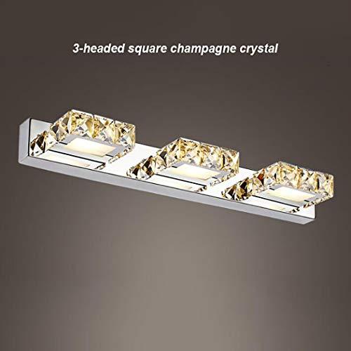 Bathroom Vanity Crystal Light badkamerspiegel 3 vierkante kop lichtspiegel roestvrij staal warm wit koud wit Champagne Warmwhite