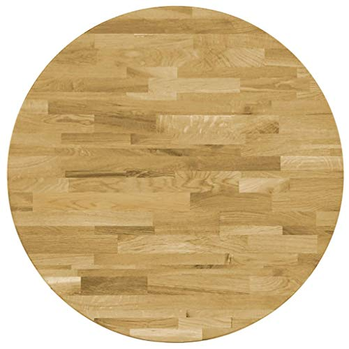 Galapara Tischplatte Tisch Ø 500 mm Platte Esstisch Rund Bistrotisch Bistrotische Gartentisch Gastronomie Massives Eichenholz Holztischplatte Dicke von 23 mm Holzfarbe Vintage-Optik Ersatztischplatte