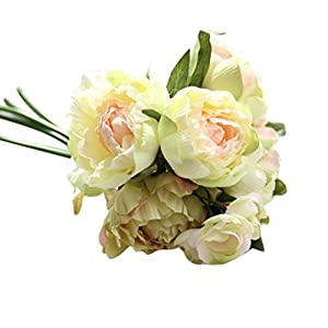 Paymenow Artificial Flowers, Artificial Fake Flowers Peony Bouquet Lotus Floral Wedding Bouquet Party Home DIY Decor Garden Office