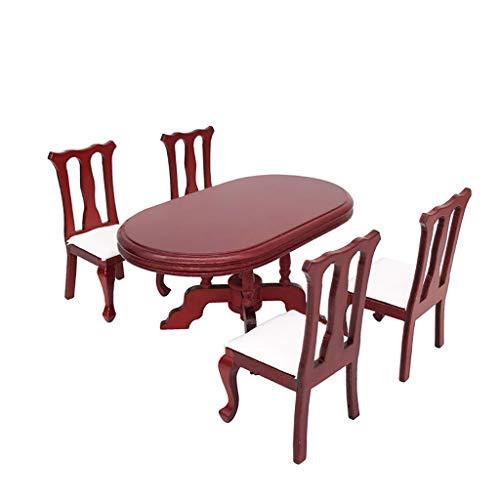 ToDIDAF Puppenhauszubehör Mini Esstisch mit 4 Stühlen 1:12 Puppenhaus Miniatur Wohnmöbel, Szenenmodell Lernspielzeug für Kinder, für Wohnzimmer Garten Geburtstag Valentinstag Deko