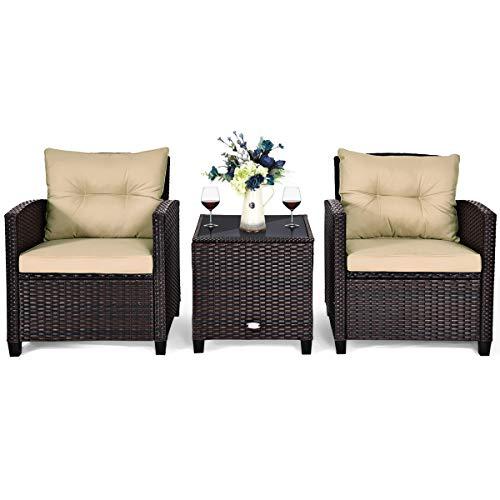 COSTWAY 3-TLG. Polyrattan Lounge Set, Gartenmöbel Rattan Sitzgruppe mit Sitzkissen & Couchtisch, Rattantisch und Stühle, Gartenset BalkonMöbel-Setfür In-&Outdoor, schwarz