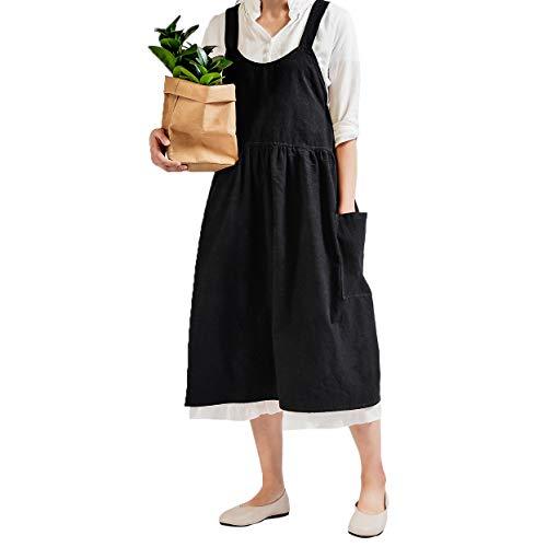 Women Retro Literature Art Cotton Linen Cross Back Apron Flower Shop Clothing Cafe Kitchen Cooking Casual Apron (Black)