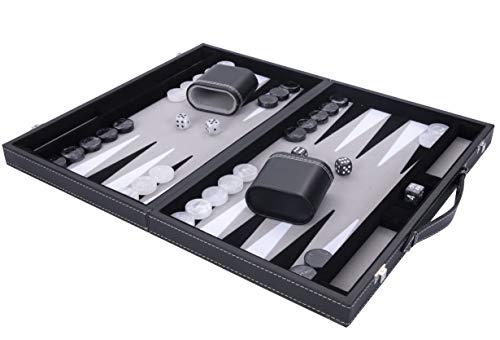 """Engelhart - Luxus Backgammon 15\"""" - hochwertige Materialien - Kunstleder außen, innen spezielle Filzeinlage - Perlmuttwürfel und Token - mit 2 Bechern - Profi- und Freizeitspiel"""