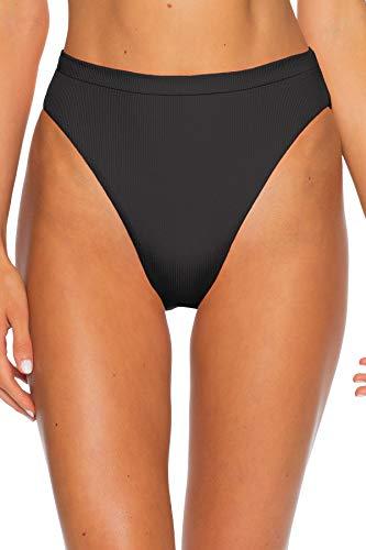 Becca by Rebecca Virtue Women's Danielle Ribbed High Waist Brazilian Bikini Bottom Black M