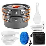 Odoland Multi-PCS Kit de Casseroles Camping Poêlé en Aluminium Durable et Compact - Poêle +Casseroles +Assiettes +Bols Ustensiles de Cuisine pour Camping (9en1 pour 1 à 2 Gens)