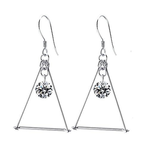 Pendientes colgantes de plata de ley S925 con forma de triángulo de circonita cúbica para mujeres y niñas, minimalista, línea fina, con circonita cúbica, ligera, hipoalergénica, regalos de joyería