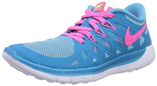 Nike Mädchen Free 5.0 Laufschuhe, Blau (Blue Lagoon/Pink Pow/White/Volt), 36 EU