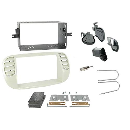 Sound-Way - Kit de montajemarco Adaptador de Pantalla Radio 2 DIN para FIAT 500 Blanco - 2D-500-B