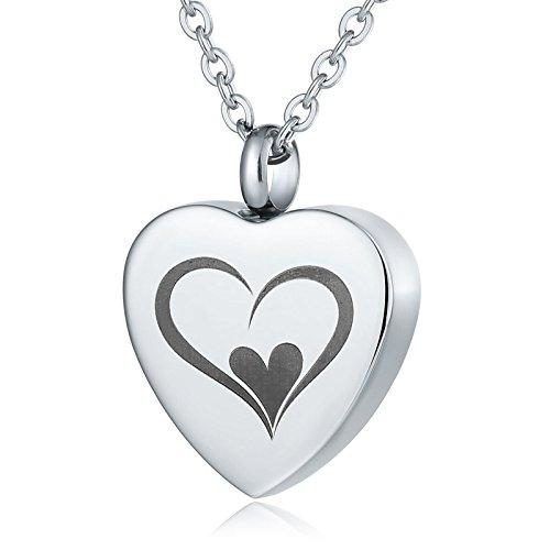 Aeici Plata Collar para Hombres/Mujeres Estilo Vintage Doble Amor En Forma de Corazón