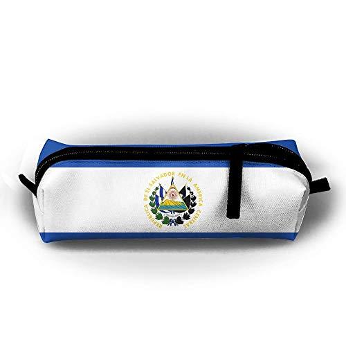 Trousse de maquillage avec motif drapeau d'El Salvador - Trousse de toilette - Avec fermeture éclair - Poignée de transport - Lignes électriques à suspendre - Sac à main