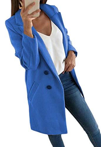 H&E - Abrigo de Lana para Mujer Azul Azul Celeste M