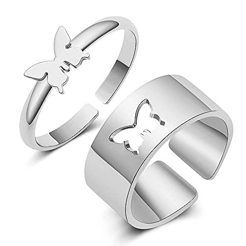 1 par de anillos para mujeres y hombres, anillos de mariposa, anillos de compromiso, amistad, anillos de compromiso ajustables para hombres, mujeres, regalos de joyería de boda