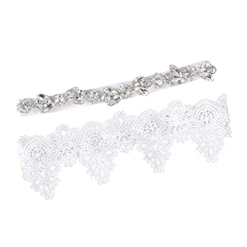 2PCS Wedding Bride Garter for Bridal Rhinestone Crystal Garter Belt Set Foot Decor (White)